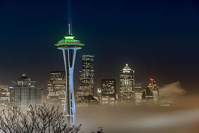 Seattle Foggy Night Lights Poster