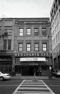 Seattle - Merchants Cafe Bw Poster by Frank Romeo