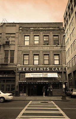 Seattle - Merchants Cafe Sepia Poster by Frank Romeo