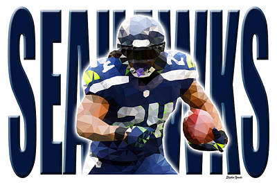Poster featuring the digital art Seattle Seahawks by Stephen Younts