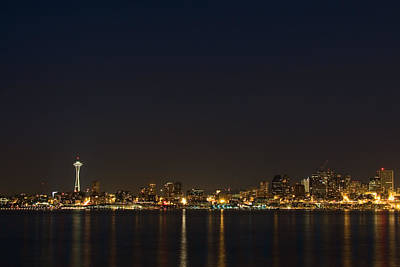 Seattle Skyline At Night Poster by Stacey Lynn Payne