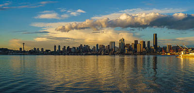 Seattle Skyline Dusk Dramatic Clouds Reflection Poster