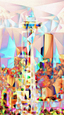 Poster featuring the photograph Seattle Space Needle In Abstract Cubism 20170327 by Wingsdomain Art and Photography