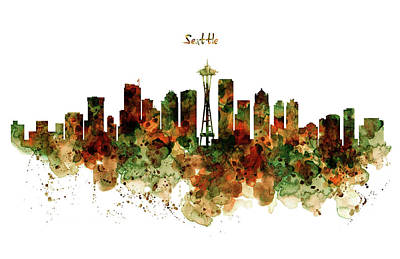 Poster featuring the mixed media Seattle Watercolor Skyline Poster by Marian Voicu