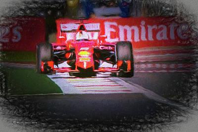 Sebastian Vettel's Ferrari Poster by Marvin Spates