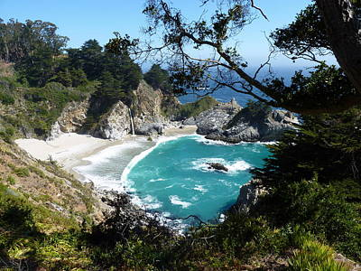 Secluded Mcway Cove In California's Julia Pfeiffer Burns State Park Poster by Carla Parris