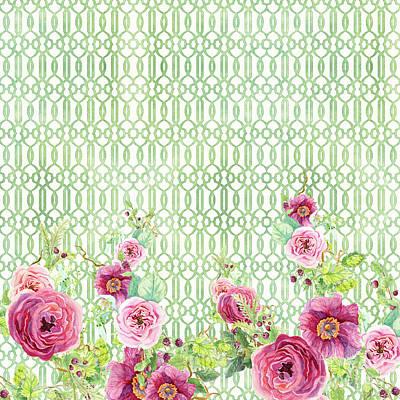 Secret Garden 2 - Peony N Rose Fern Hops, Berries And Trellis Poster