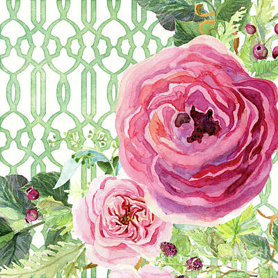 Poster featuring the painting Secret Garden 3 - Pink English Roses With Woodsy Fern, Wild Berries, Hops And Trellis by Audrey Jeanne Roberts