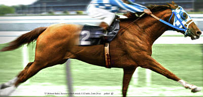 Secretariat Is Widening The Lead Now,  Painting Belmont Stakes  Poster by Thomas Pollart