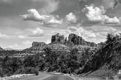 Sedona Arizona Black And White Landscape - Cathedral Rock  Poster