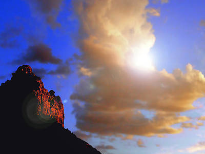 Sedona Mountain Cloud Sun Poster