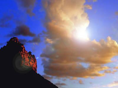 Sedona Mountain Cloud Sun Poster