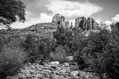 Sedona's Red Rock Crossing In Black And White Poster by Gregory Ballos