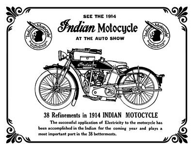 Poster featuring the mixed media See New 1914 Indian Motocycle At The Auto Show by Daniel Hagerman