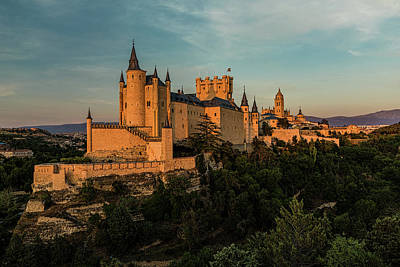Segovia Alcazar And Cathedral Golden Hour Poster