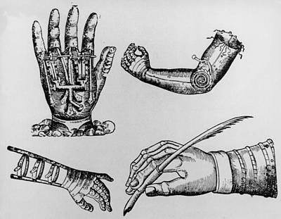 Selection Of 16th Century Artificial Arms & Hands. Poster by Dr Jeremy Burgess.