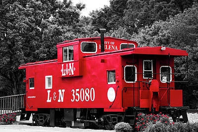 Poster featuring the photograph Selective Color Red Caboose by Parker Cunningham