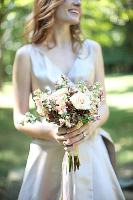 Selective Focus Of Brides Bouquet Poster