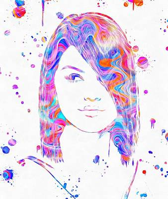 Selena Gomez Paint Splatter Poster by Dan Sproul