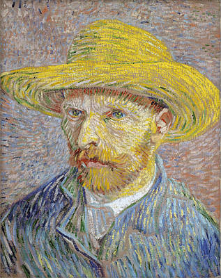Self Portrait 1887 With Straw Hat 04 Poster by Vincent Van Gogh