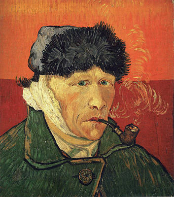 Self Portrait 1889 With Bandaged Ear And Pipe Poster by Vincent Van Gogh