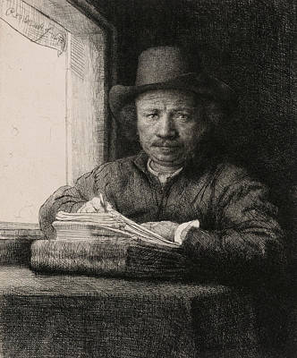 Self-portrait Drawing At A Window Poster by Rembrandt