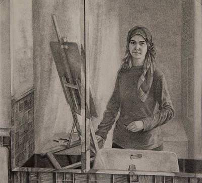Self Portrait In A Bathroom Mirror Poster by Rebecca Giles