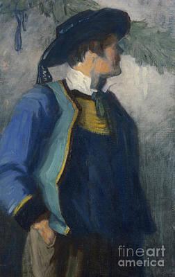 Self-portrait In Bretonnian Garb Poster by Franz Marc