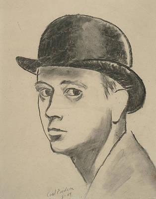 Self-portrait Sketch Of Carl Erickson Poster by Carl Oscar August Erickson