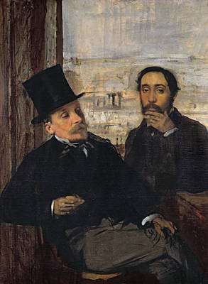 Self Portrait With Evariste De Valernes Poster by Edgar Degas
