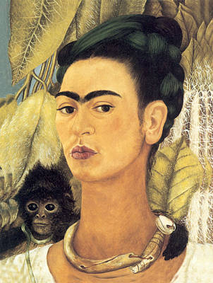 Self Portrait With Monkey  Poster by Frida Kahlo