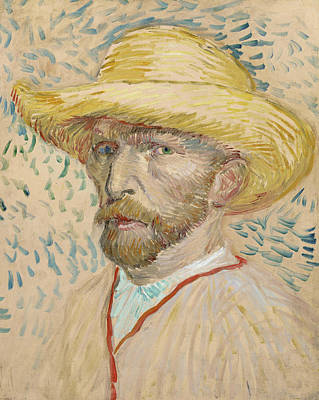 Self Portrait With Straw Hat  Poster by Vincent van Gogh