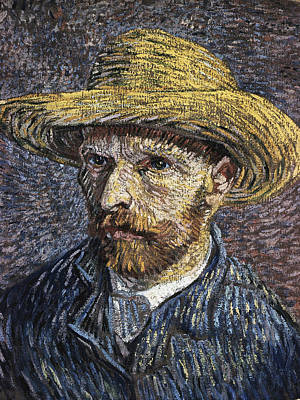 Self - Portrait With Straw Hat1 Poster by Vincent Van Gogh