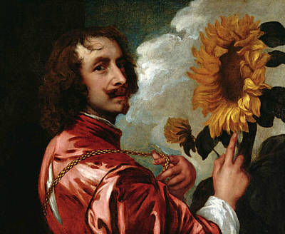 Self-portrait With Sunflower Poster by Anthony van Dyck