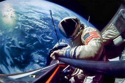 Selfie Buzz Aldrin Poster by Peter Chilelli