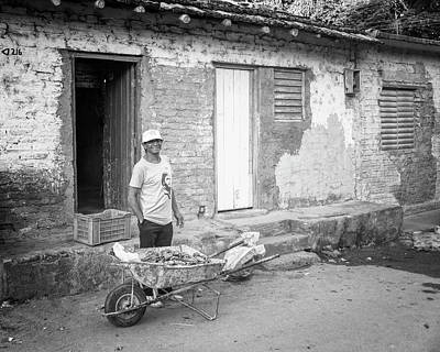 Selling Peppers In Trinidad Cuba Bw Poster