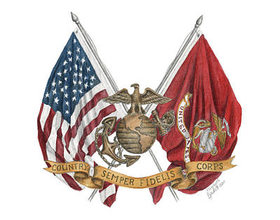 Poster featuring the painting Semper Fidelis Crossed Flags by Betsy Hackett