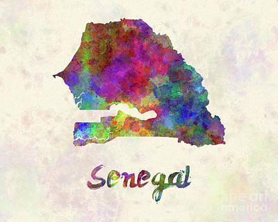 Senegal In Watercolor Poster by Pablo Romero