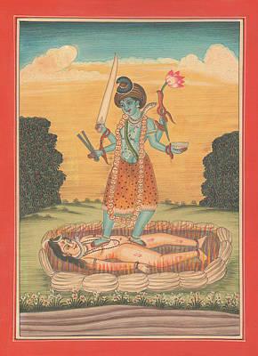 Senor Shiva Entre El Resto De Maa Kaali Pintura Miniatura India Ilustraciones De La Acuarela De Sunr Poster