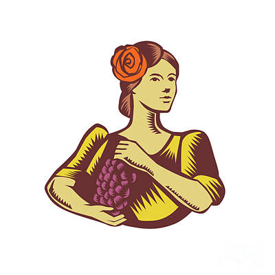 Senorita Holding Grapes Woodcut Poster by Aloysius Patrimonio