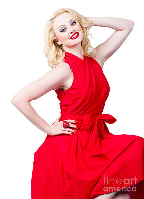 Sensual Blond Woman Wearing A Red Dress Poster by Jorgo Photography - Wall Art Gallery