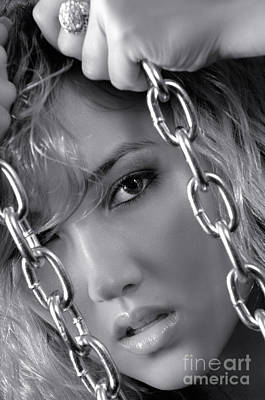 Sensual Woman Face Behind Chains Poster by Oleksiy Maksymenko