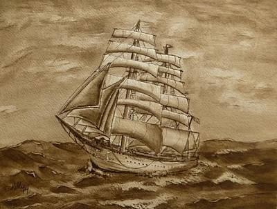 Poster featuring the painting Sepia Oceans Fury by Kelly Mills