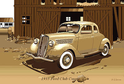 Sepia Of 1935 Ford Coupe Poster by Robert G Jerore