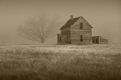 Sepia Of An Abandoned Farm House Poster