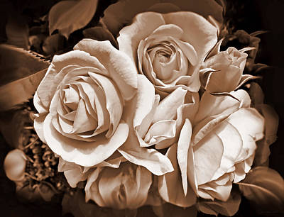 Sepia Rose Flower Bouquet Poster by Jennie Marie Schell