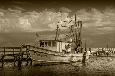 Sepia Toned Fishing Boat Miss Ash Poster