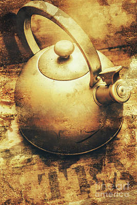 Sepia Toned Old Vintage Domed Kettle Poster