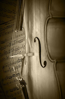 Sepia Toned Photo Of A Cello With Sheet Music Poster by Randall Nyhof