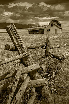 Sepia Toned Photograph Of A Wood Fence Mormon Row By The John Moulton Farm Poster by Randall Nyhof